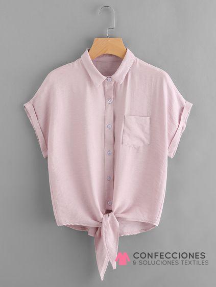 camisa con nudo bajo