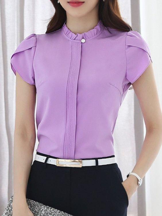 Camisa Tipo Chacabana Para Mujer Con Alforza En El Frente Morada
