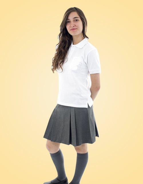 Falda Escolar Gris De Dos Tachones