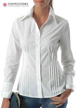 camisa con 4 pinzas mujer blanca cstradha