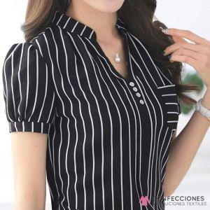 camisa con rayas negras 4 botones