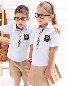 Camisa Blanca Y Caqui De Uniformes De Colegio Para Niñas