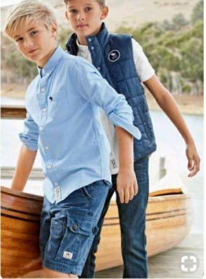 Camisas Azules Casuales De Uniforme Escolar Para Ninos Cstradha
