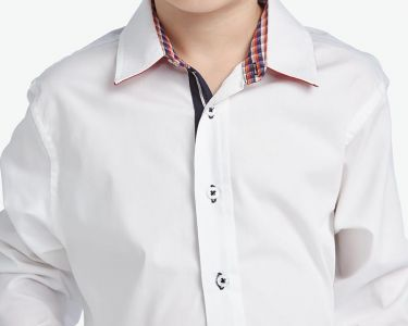 Camisas Escolares Blancas Al Por Mayor Para Ninos Con Cuello Combinado