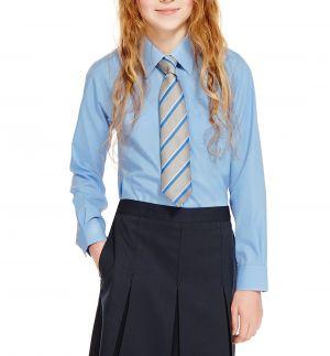 Camisas Escolares Para Niñas Azul Con Corbata