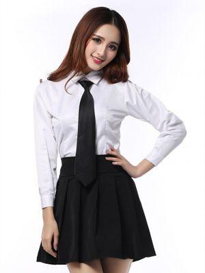 Camisas Escolares Para Niñas Con Corbata Negra Manga Larga