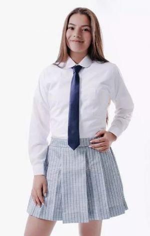 Camisas Escolares Para Niñas Sencilla Con Corbata Azul