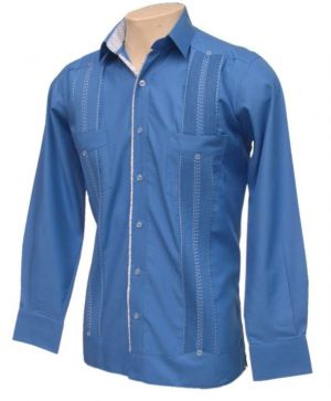 Chacabana Azul Fuerte Con Cuello Combinado