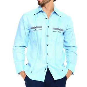 Chacabana Moderna De Hombre Azul Turquesa Con Bolsillos Punteados