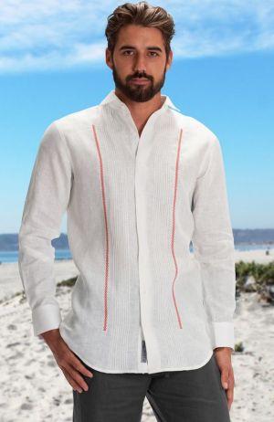 Chacabana Moderna Para Hombre Blanca Con Linea De Alforza Roja