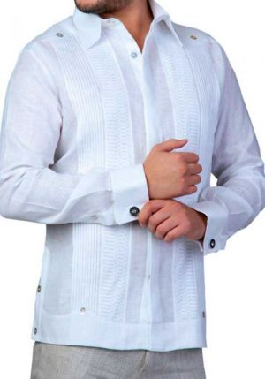 Chacabana Para Hombre Moderna Blanca Con Botones De Distintos Colores