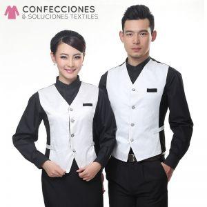 chaleco de camareros negro con blanco mangas largas cstradha