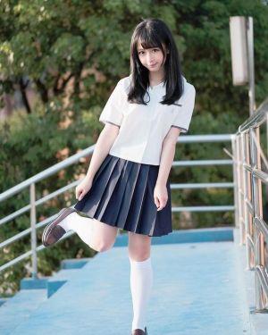 Falda Escolar Azul Marino Estilo Coreano