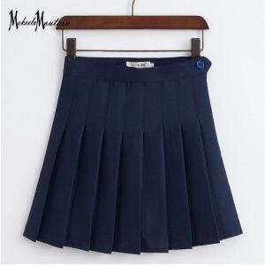 Falda Escolar Azul Marino Plisada Corta