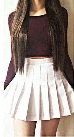 Falda Escolar Blanca A La Cintura Corta