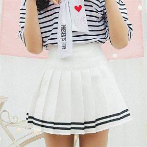 Falda Escolar Blanca Con Dos Lineas