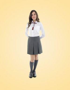 Falda Escolar Gris Corta De Dos Tachones