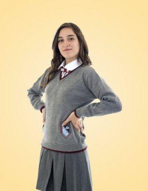 Falda Escolar Gris De Tres Tachones