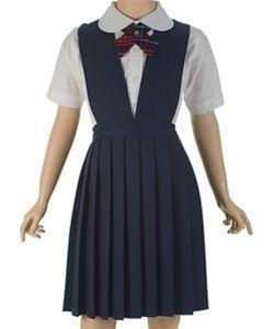 Falda Jumper Escolar Con Escotes Azul Marino