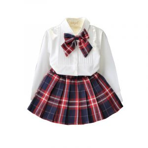 Faldas Escolares Para Niñas En Cuadros Rojos