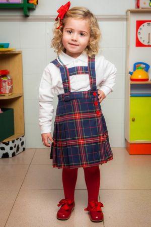 Jumper En Cuadro De Uniforme Escolar Para Nina