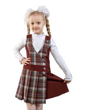 Jumper Y Blusa De Cuadritos De Uniforme Escolar Para Nina