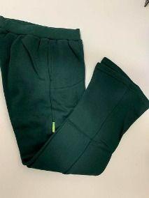 Pantalon Escolar Verde Con Tela Fina Y Sello