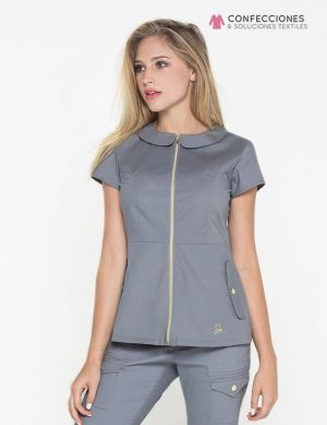 uniforme medico gris con zipper