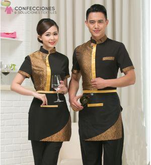 uniforme para camarero combinado dorado con negro cstradha