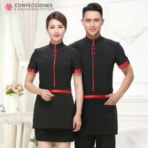 uniforme para mozo con ribete rojo