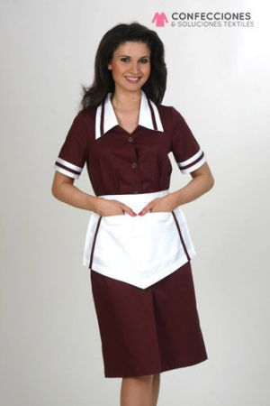 uniformes para camaristas rojo con mandil