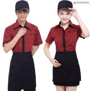 uniformes para mozo rojo con mandil cstradha