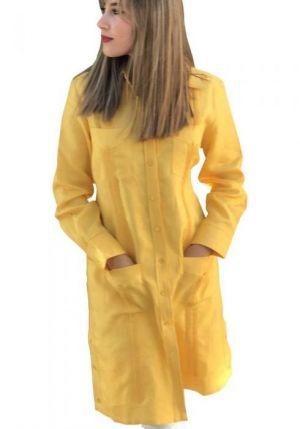 Vestido Chacabana Amarillo En Tela Lino