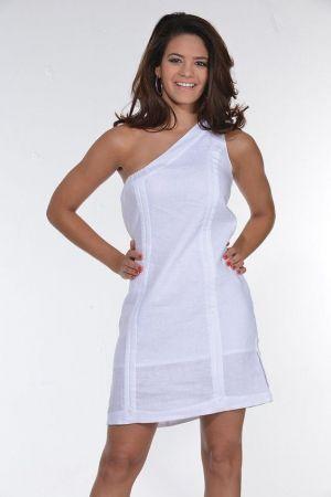 Vestido Chacabana Blanco, Descotado Y Sin Manga