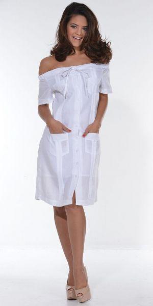 Vestido Chacabana Blanco Y Descotado