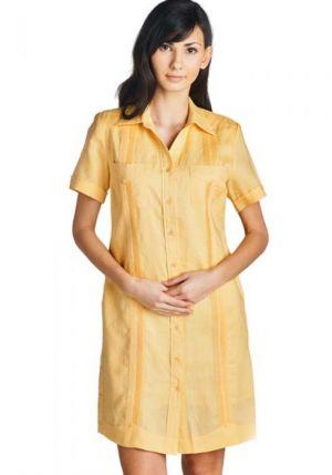 Vestido Chacabana Color Amarillo, Manga Corta