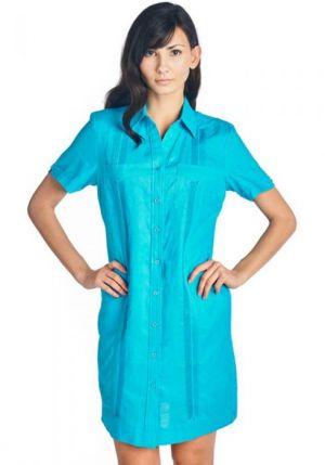 Vestido Chacabana Color Azul Aqua Y Alforzas Un Poco Mas Oscuras
