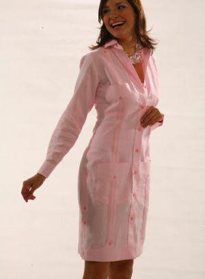 Vestido Chacabana Color Rosa Claro, Manga Larga