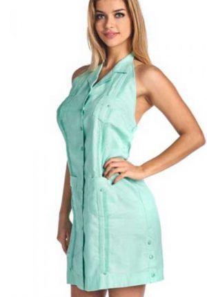 Vestido Chacabana Verde Aqua Sin Manga Y Con Cuello