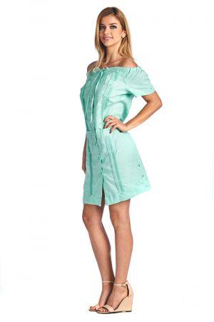 Vestido Chacabana Verde Claro Descotado, Manga Corta
