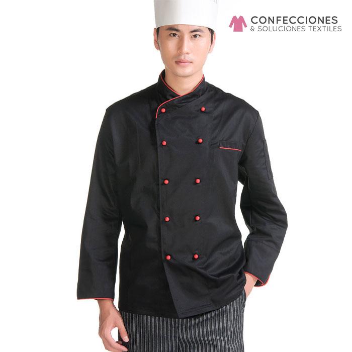 uniforme para chef rojizo con negro y pantalon cstradha