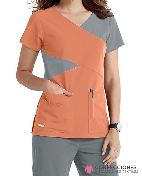 uniforme para medico combinado naranja con gris cstradha