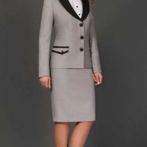 Chaqueta y falda ejecutiva con cuello y bolsillo combinado cstradha