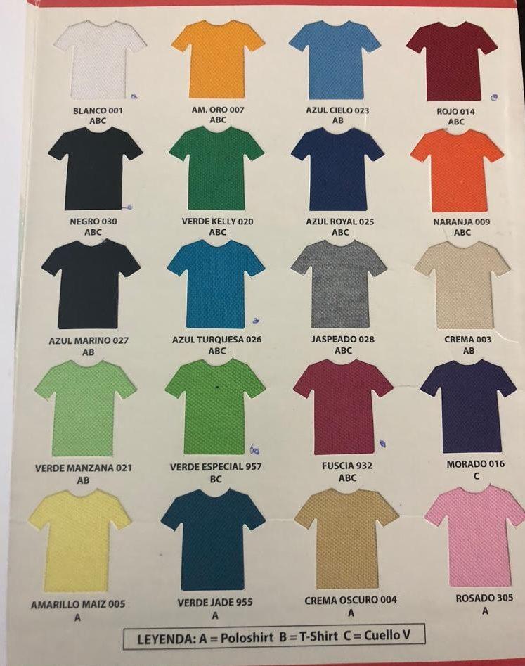 colores en tela de pique